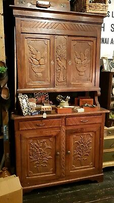 Antique Vintage French Heavily Carved Oak Dresser Cupboard Drawers Country