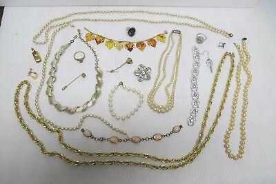Lot of Asst Vintage Costume Jewelry~For Wear~Repair~Crafts~Steam Punk~Necklaces