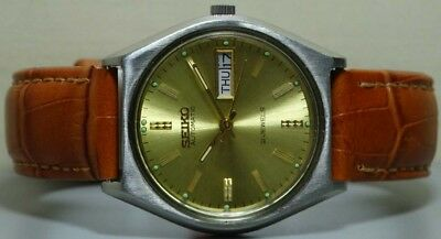 Vintage Seiko Automatic Day Date Mens Wrist Watch s170 Old Used Antique