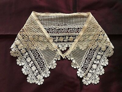 Antique French Edwardian LACE COLLAR - Floral design on tulle