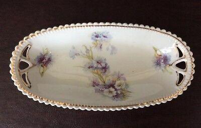 P K Silesia Flowered Dish~White And Purple Flowers With Yellow And Green