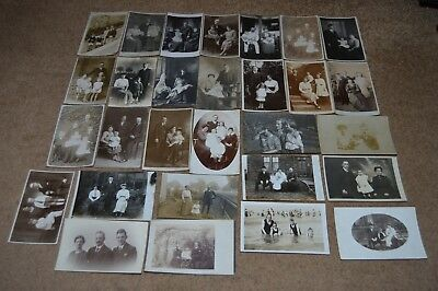Collection job lot vintage GROUPS OF PEOPLE postcards c1900 - 1930 old fashion 1