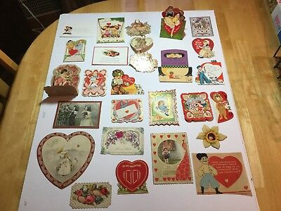 Lot of 25 Vintage & Victorian Antique Valentine Cards, Valentine's, Very Nice!