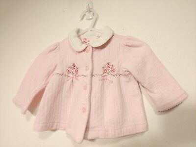 Pink Button Up Sweater with Embroidered Roses! Great Condition!