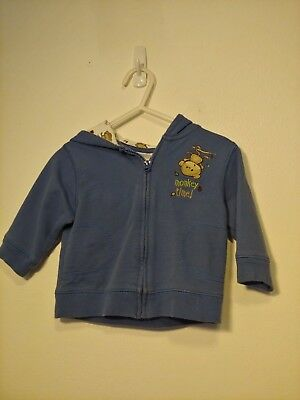 Cute Monkey Zip Up Hoodie with Ears in Size 6-9 Months! Great Condition!
