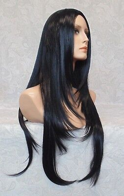 X-Long Silky Straight Layered Jet Black High Heat Ok Full Synthetic Wig -5064