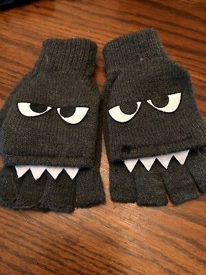Monster With Teeth Kids Knit Winter Mittens One Size