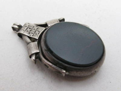 Antique Victorian Hallmarked English 925 Sterling Silver Blood Agate Swivel Fob