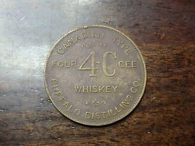 Four 4-C Cee Whiskey Buffalo Distilling Co. Good Luck Swastika Token Buffalo NY
