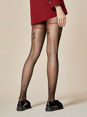 Fiore Rondini Swallow Bird Patterned Sheer to Waist Tights 20 Denier Tattoo