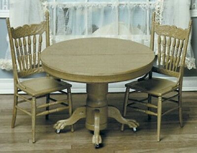 Dollhouse Miniature Round Table with 2 Chairs Kit by Chrysnbon