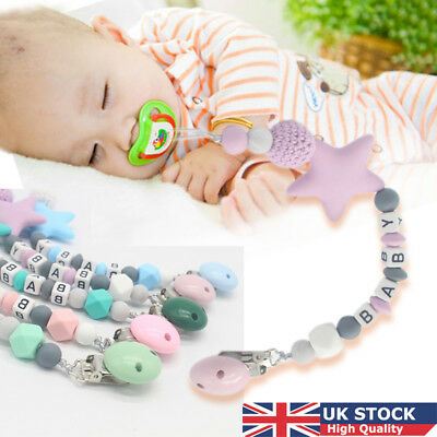 UK Baby Silicone Teething Soother Bead Infant Dummy Clip Pacifier Chain Chew Toy