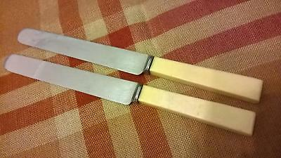 2 x Vintage Walker & Hall Art Deco Round End Butter /Table Knives