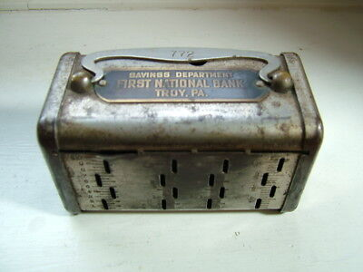 Antique Savings Bank... First National Bank Troy Pa...Slot for $5 Gold Coin