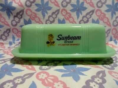 Jadeite Green Glass Sunbeam Bread Butter Dish with Lid in Excellent Condition.