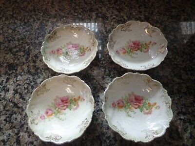 Set of 4 Vintage Bone China Hand painted Dishes, Roses and gold filigree edging