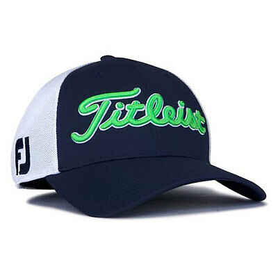 Titleist Golf Tour Sports Mesh Fitted Hat Cap Size: M/L Navy/White/Lime 19581