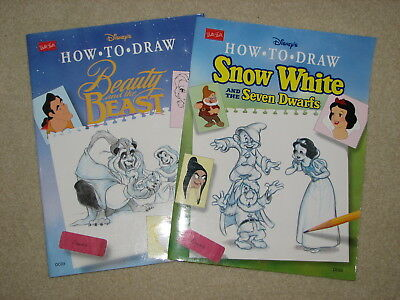 Walter Foster DISNEY How to draw books Beauty and the Beast & Snow White 1993