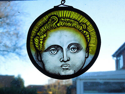 Interesting Stained Glass Angel Cherub Medieval Victorian Decorative Style