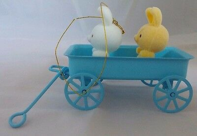Avon Spring Bunny Collection Bunnies in Blue Metal Wagon Easter Ornament