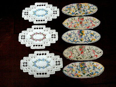 8 Antique Embroidered & Needlepoint Appliques