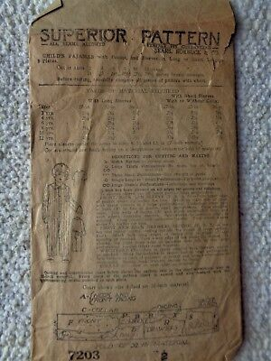 1900s Superior Sears Roebuck Child's Pajama Pattern Size 2 NEW