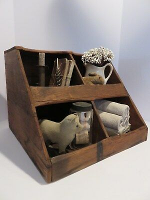 Primitive Antique Canted 4 Cubicle Open Bin Display Or Sorting Box,  Aafa