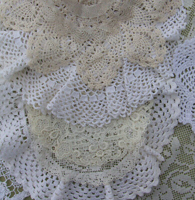 "Vintage Doily Lot of 18 Small Crochet Lace DOILIES White & Ecru 5"" to 9"" Fancy"