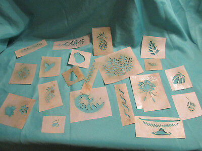 20 Antique Vtg Stencils Oiled Paper Various Patterns And Styles
