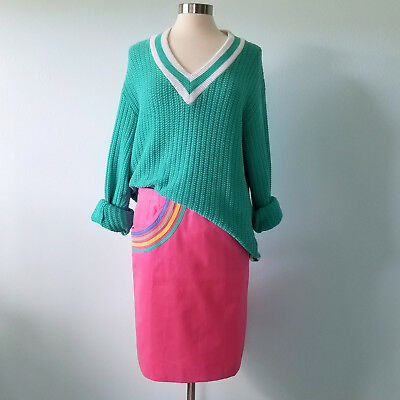 """Vintage The Lilly Pulitzer 26"""" Waist Skirt Pink Preppy Rainbow Pocket 1970s 70s"""