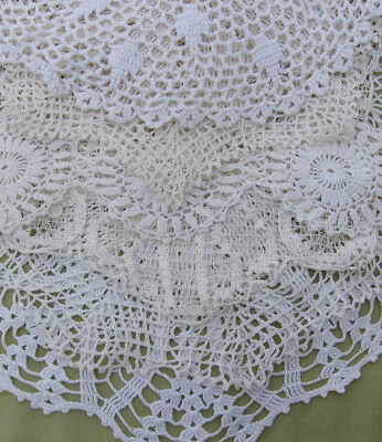 "Big Vintage Doily Lot of Hand Crochet Lace WHITE DOILIES Medium Size 11"" to 13"""
