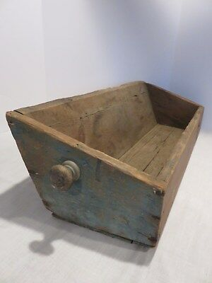 Antique Lrg Wooden Tobacco Leaf Drawer, Sq Nails, Vg Old Blue Paint, Aafa