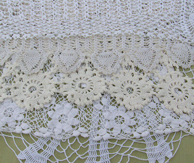"8 Vintage Doily Lot Crochet Lace LARGE DOILIES White Off White 13"" to 29"" Ornate"