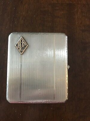 Antique Sterling 935 Cigarette Case With Saphire 86 Grams