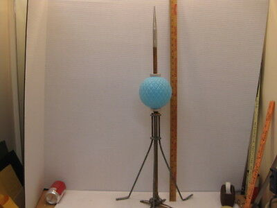 Geo E Thompson Quilted Blue Glass Ball With Lightning Rod