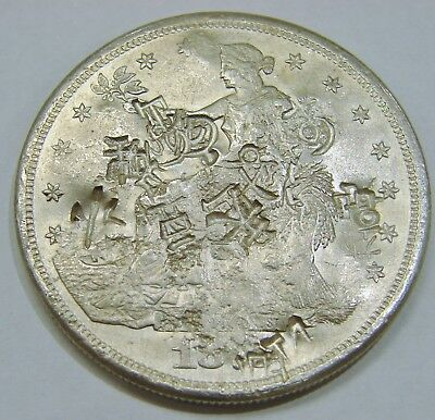 187x S - Silver Trade Dollar - Full of Chopmarks - Nice Details & Bright Luster