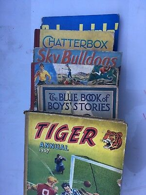 6 Vintage Annuals - Tiger, Chatterbox, Sky Bulldogs, Calling all boys, + 2 more