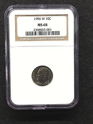 1996-W Us 10C, Clad, Ngc, Ms 68, No Reserve, Combined Shipping, Rare, Key Date!