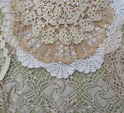 "Vintage Doily Lot of 11 Hand Crochet Lace ECRU DOILIES 7"" to 14"" Fancy  NR"