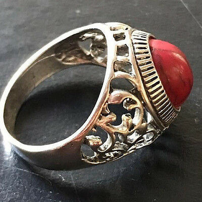 Ancient Medieval ROMAN Silver Bronze RING ARTIFACT AMAZING Red Stone