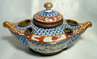 Exceptional Antique French Porcelain Inkwell
