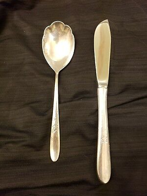 Reed And Barton Autumn Leaves Sterling Silver Butter Knife And Sugar Spoon