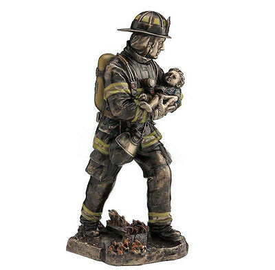 """11.25"""" Fireman Carrying a Child Collectible Men In Uniform Statue Fire Fighter"""