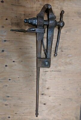 "Vintage Blacksmith Post Leg Vise,4 1/2"" Jaw. 39"" Tall,47 lb,Forging Tool"