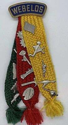Vintage Bsa Boy Scout Webelos Pin & Knit Ribbons - 15 Activity Badges Great Cond