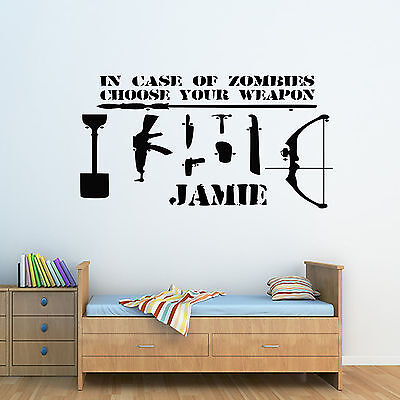 Personalised Zombie Choose Your Weapon & Name Childrens Wall Sticker - Bedroom -