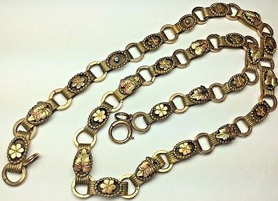 Antique Victorian Rose & Yellow Gold Filled Ornate Leaf Link Book Chain Necklace