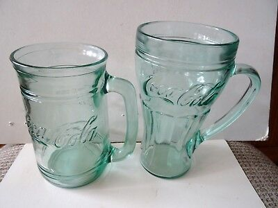 2 Different Vintage Green Coke, Coca-Cola Glass Mugs with Handles