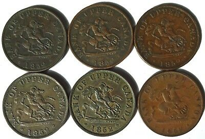 6 Bank of Upper Canada Half Penny Tokens 1852 (3 with medal alignment)
