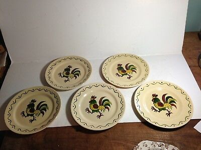 5 Vintage Metlox Poppytrail Dinner Plates~Hand Decorated Roosters~California
